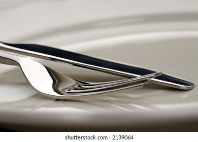 fork and knife on white