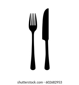Fork and knife silhouette on white background