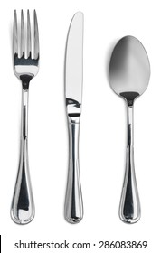 Fork, knife, spoon.