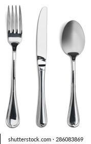 Fork, knife, spoon.