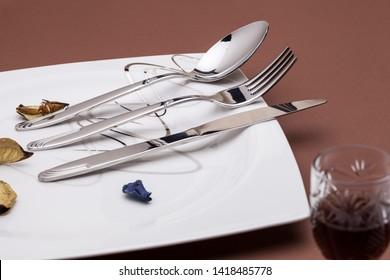 fork knife spoon conceptual shot luxury porcelain on white background brown wonderful decorated composition creative different alternative composition shot kitchen utensils restaurant serving meal.