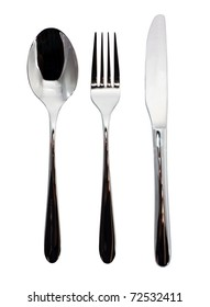 Fork, knife and spoon on white background