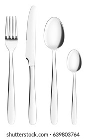fork, knife, spoon, teaspoon, cutlery, clipping path, isolated on white background