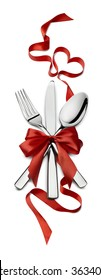 Fork knife spoon vertical red ribbon heart design element Valentine isolated for event or party poster, banner, email, menu, invitation, catering service ad