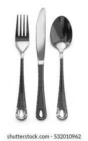 Fork, knife, spoon.on white background with clipping path