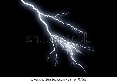 Fork Lightning: lightning bolt, isolated against black ground