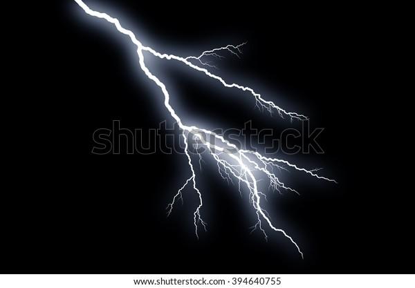 Fork Lightning: lightning bolt, isolated against black ground