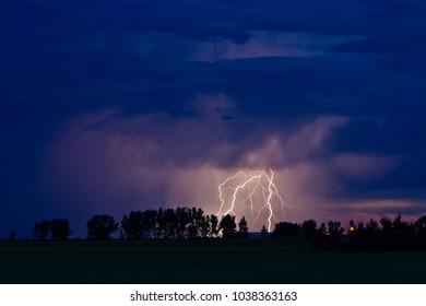 Fork of lightning in a night sky