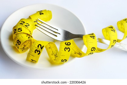 Fork and measuring tape on a plate as a symbol of healthy dieting