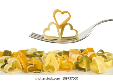 fork with pasta shaped heart