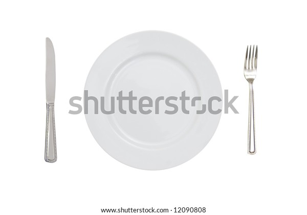 fork plate and knife isolated against white background