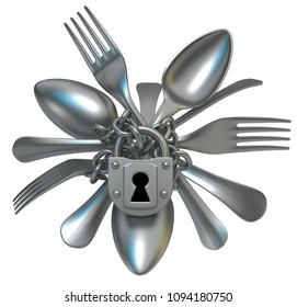 Fork and spoon cutlery chain locked, 3d illustration, horizontal, isolated, over white