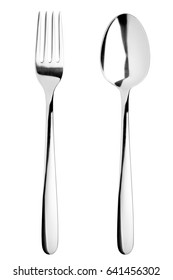 fork, spoon, cutlery on white background, isolated
