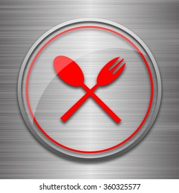 Fork and spoon icon. Internet button on metallic background.