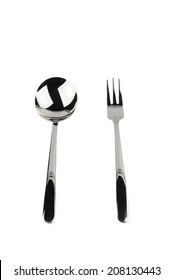 fork and spoon isplated over white background