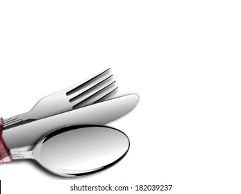Fork and Spoon with Knife over White