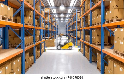 forklift in action at warehouse 3d rendering image