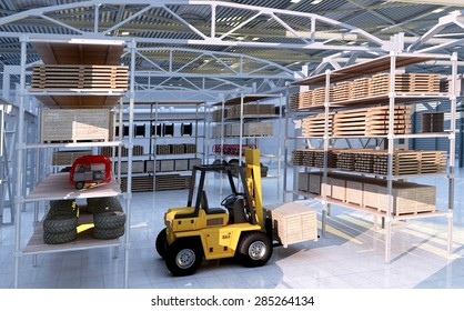 Forklift among the materials in the hangar.
