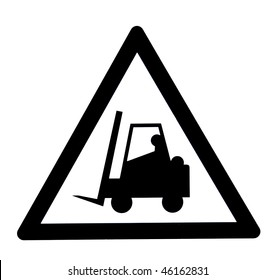 A forklift attention sign, isolated on white background