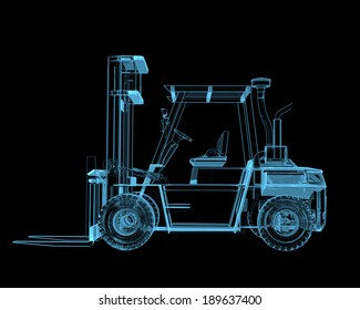 Forklift crane x-ray blue transparent isolated on black