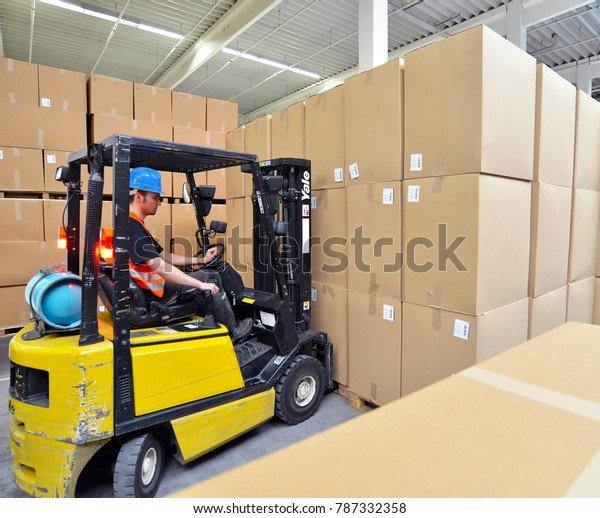 Forklift Driver Warehouse Industrial Goods Stock Photo (Edit