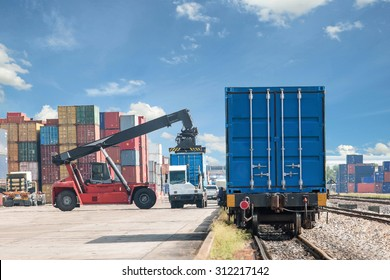 Forklift handling container box loading to freight train use for train cargo import, export, logistics background.