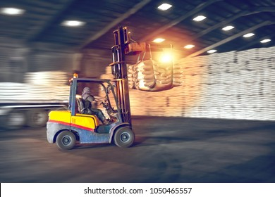 Forklift handling sugar bags from container into warehouse. Distribution, Logistics Import Export, Warehouse operation, Trading, Shipment, Delivery concept.