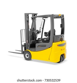 Forklift Isolated on White Background. Side View of Yellow Order Picker. Stacker Truck. Pneumatic Counterbalance Industrial Vehicle. Electric Warehouse Equipment
