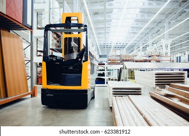 forklift loader pallet Building materials warehouse, logistics concept, construction of houses, loader.