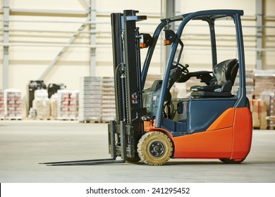 forklift loader pallet stacker truck equipment at warehouse
