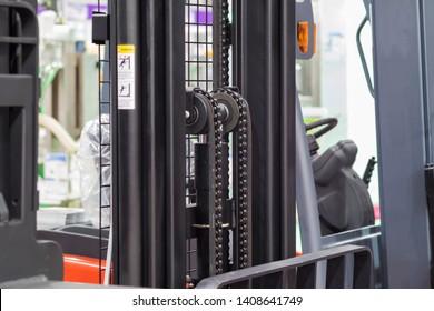 Forklift for logistics warehouse ; close up