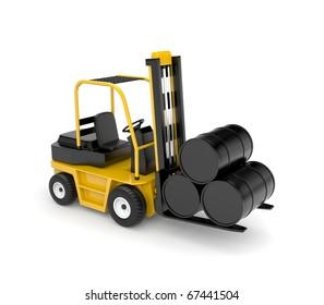 Forklift with oil barrels
