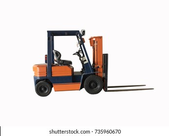 The Forklift orange and blue color isolated on white background. clipping path. it is a vehicle with a pronged device in front for lifting and carrying heavy loads.