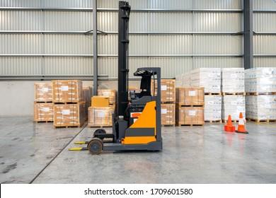 Forklift parking at logistics warehouse