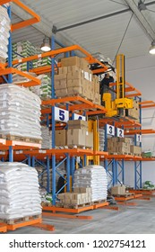 Forklift Stacker in Fulfillment Distribution Warehouse