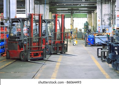 forklift and tools in machine shop