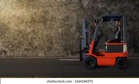 Forklift transporting cargo on a asphalt road old cement wall background.
