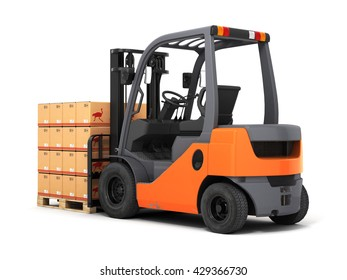 Forklift truck with boxes on pallet 3d