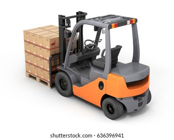 Forklift truck with boxes on pallet isolated on white background 3d