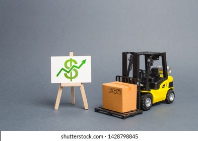 forklift truck carries a cardboard box and a stand with a green arrow up. Profit growth from sales and high production of goods. Retail, resale, sales of products. Added value of goods, modernization