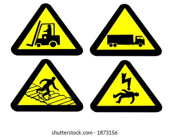 forklift truck, fragile roof electrocution hazard signs  JPG
