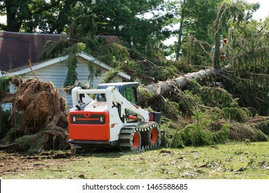 Forklift truck grabs wood in a wood. Skid steer loader.Home insurance. insurance storm.Storm damage.Roof damage from tree that fell over during hurricane storm.Lumberjack cutting tree. tree down.