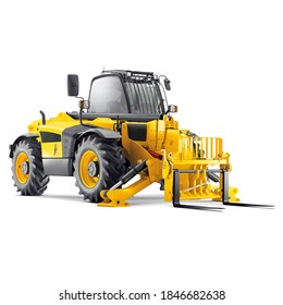 Forklift Truck Isolated on White Background. Internal Combustion Pneumatic Industrial & Agriculture Vehicle. Warehouse Equipment. Side Front View Yellow Fork Hoist. Diesel Counterbalance Carriage