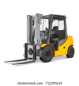 Forklift Truck Isolated on White Background. Side View of Yellow Fork Hoist. Internal Combustion Pneumatic Industrial Vehicle. Diesel Counterbalance Carriage. Warehouse Equipment