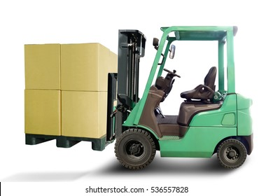 Forklift truck loading Production, transportation, delivery of cargo with box on plastic palette isolated illustration on white background. This has clipping path.