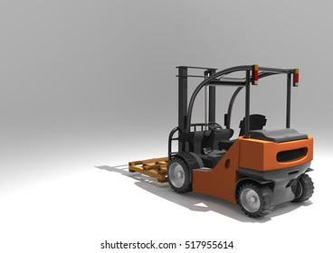 Forklift truck with pallet. 3D rendering.