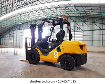 The forklift truck in ware house