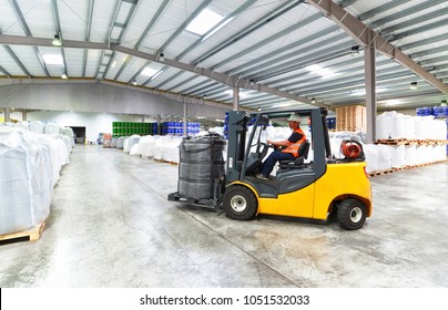 forklift trucks transported in a warehouse - storage of goods in a forwarding agency