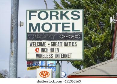 Forks Motel in the city of Forks Washington - FORKS / WASHINGTON - APRIL 14, 2017
