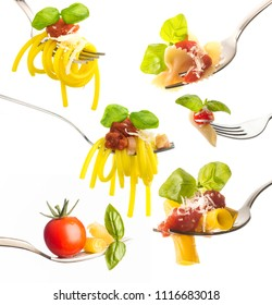 Forks with various type of pasta isolated on white background